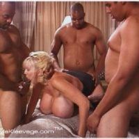 Huge boobed older yellow-haired Kayla Kleevage partakes in an multiracial gangbang on her bed