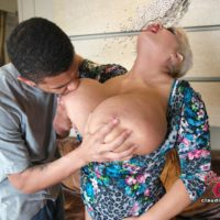 Big titted platinum platinum-blonde Claudia Marie takes a money-shot on her backside after multiracial sex