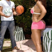 Ebony girl Ayana Angel flaunts her huge ass in a short skirt while dribbling a basketball