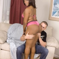 Ebony MILF Kara Kane entices a white man with her big ass in a bikini