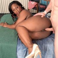 Ebony MILF Morgan Cummings showing off large ebony azz while screwing milky man