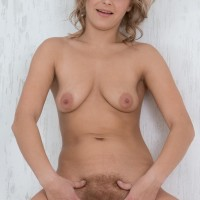 Fair-haired first timer Ayda munches her lips preceding to a close up of her finger spread beaver