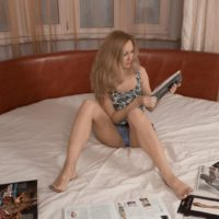 Light-haired first timer Magnificent gets totally naked while dildoing her full pubic hair atop her bed