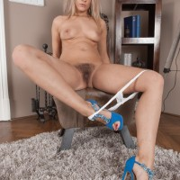 Platinum-blonde first-timer Jehanna releases her tempting bootie and shaven muff from lace skivvies