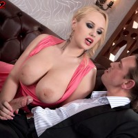 Sandy-haired solo girl Angel Wicky whipping out ultra-cute dangling funbags during doggie sex