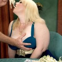 Ash-blonde BIG HOT LADY adult video starlet Dawn Davenport jerking penis while licking food and masturbating
