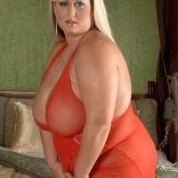 Platinum-blonde BIG HOT LADY Rose Valentina releasing large boobies from dress after upskirt panty exhibit