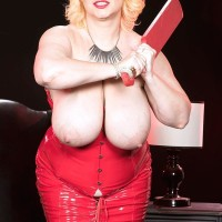 Golden-haired BIG HOT LADY Samantha 38G pulls out massive melons from crimson spandex sundress in high-heels