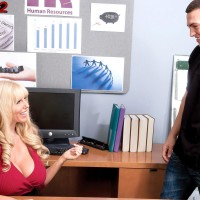 Platinum-blonde boss lady Karen Fisher unveiling monster-sized funbags while seducing worker