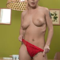Fair-haired Euro first timer Nikitina freeing wooly beaver from panties in stilettos