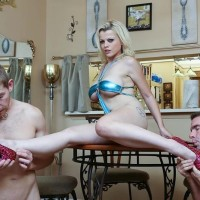 Golden-haired female Nadia White dominates 2 sissy studs that idolization her bare feet