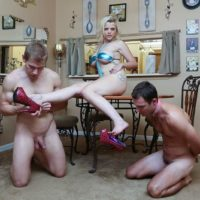 Golden-haired female Nadia White dominates 2 sissy studs that idolization her bare feet