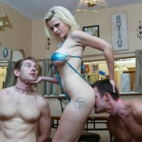 Golden-haired female Nadia Milky dominates two sissy guys that worship her bare feet