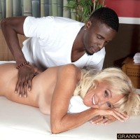 Blond granny Brittney Snow gets seduced by her ebony massage therapist