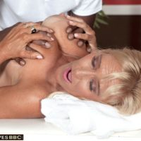 Blond granny Brittney Snow gets seduced by her black rubdown therapist
