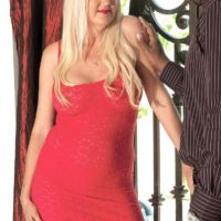Blonde grandmother Marina Johnson has her first bi-racial sex practice in a crimson sundress