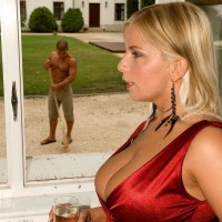 Golden-haired MILF Lucy Enjoy baring gigantic melons for jugg sucking from ebony man by pool