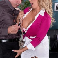 Light-haired MILF XXX adult star Amber Lynn Bach providing funbag bang after being stripped