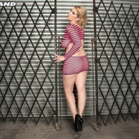 Golden-haired MILF Rockell unleashes her humungous all-natural titties from a revealing dress in solo action