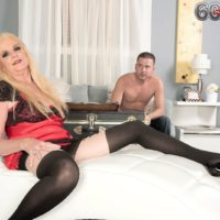 Blond Nan Charlie seduces a junior dude in lingerie and ebony stockings