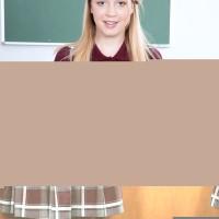 Ash-blonde schoolgirl showcasing upskirt panties before schoolteacher tongues trimmed teener cootchie