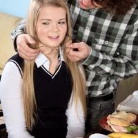 Platinum-blonde schoolgirl Lexy gets disrobed by her professor before having Sixty nine sex