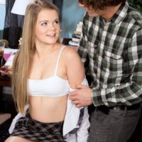 Platinum-blonde schoolgirl Lexy gets disrobed by her professor before having Sixty nine sex