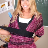 Blonde educator exposing massive natural juggs and bare booty in classroom