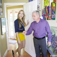 Ash-blonde teener Blair Williams toys her slit when she's not screwing her step-father