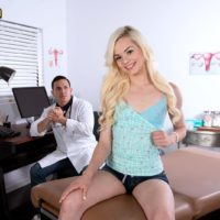 Yellow-haired teenage Elsa Jean having petite breasts unveiled by physician before riding prick on desk