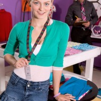 Ash-blonde teenager first timer Alli Rae freeing immense natural tits for tutor in ponytails
