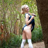 Blue witnessed yellow-haired teenage Alli Rae flashes her giant titties outdoors in a g-string and OTK socks