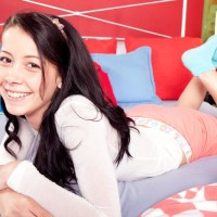 Brown-haired amateur Alaina Kristar unleashing tight teenager bum and smallish melons in socks
