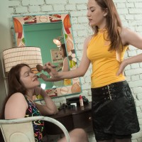 Dark-haired amateur Elsa Hanemer having furry vagina fellated and toyed by lesbian girlfriend