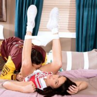 Brown-haired amateur Megan Rain having teenager twat fellated in cheerleader uniform