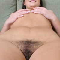 black-haired first timer touts her hot rump before showing the pinkish of her shaved vagina
