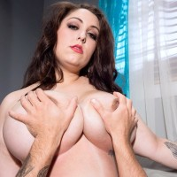 Black-haired BIG SEXY LADY Allie Pearson having immense all natural melons blown and touched