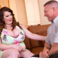 Dark-haired BBW Anna Beck unveiling huge boobs before providing FELLATIO and fucking on couch