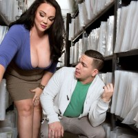 Brunette BBW Charlotte Angel undress nude for doggy boinking by co-worker