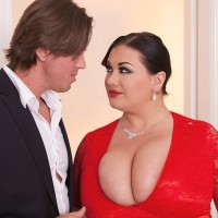 Dark-haired BIG SEXY LADY Nila Mason letting out humungous breasts before providing FELLATIO in hose