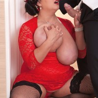 Brunette BBW Nila Mason unsheathing hefty tits before providing BLOW-JOB in nylons