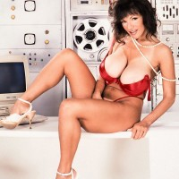 Black-haired businesswoman Huge-boobed BriAnna shows her fine pins and large titties at once