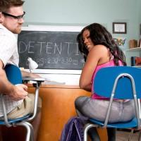 Brown-haired female Serenity Evans demonstrating panty garbed gigantic rump in classroom