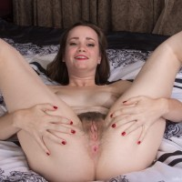 Dark-haired amateur Kelly Morgan touting monster-sized all-natural titties and spread cootchie