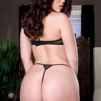 Dark-haired MILF Ryan Smirks showcasing gigantic backside in g-string panties and stilettos
