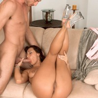 Black-haired MILF Sandra Romain gags on a monster-sized dick preceding to doggystyle boinking