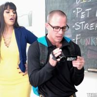 Dark-haired MILF educator Mercedes Carrera having sex with student on desk