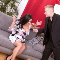 Brown-haired plumper Nila Mason joys her guy acquaintance with her tits