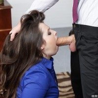 Black-haired assistant Lola Foxx taking rump fucking in work place after giving massive boner blowjob