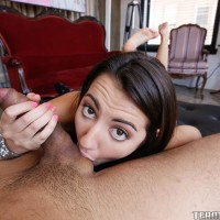 Dark haired nubile Lily Adams strips nude before giving ball slurping oral pleasure
